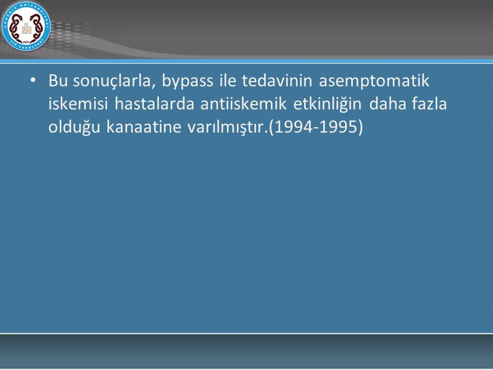Bu sonuçlarla, bypass ile tedavinin asemptomatik iskemisi hastalarda antiiskemik etkinliğin daha fazla olduğu kanaatine varılmıştır.(1994-1995)