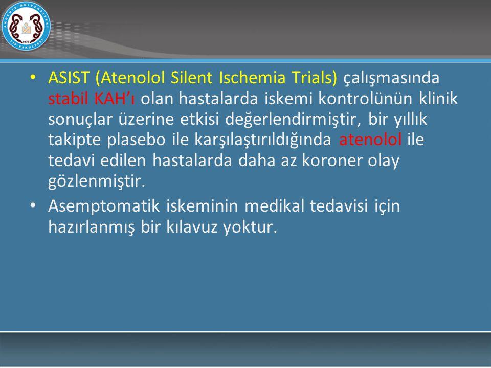 ASIST (Atenolol Silent Ischemia Trials) çalışmasında stabil KAH'ı olan hastalarda iskemi kontrolünün klinik sonuçlar üzerine etkisi değerlendirmiştir, bir yıllık takipte plasebo ile karşılaştırıldığında atenolol ile tedavi edilen hastalarda daha az koroner olay gözlenmiştir.