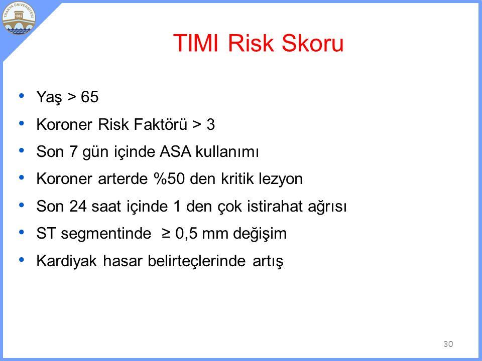 TIMI Risk Skoru Yaş > 65 Koroner Risk Faktörü > 3 Son 7 gün içinde ASA kullanımı Koroner arterde %50 den kritik lezyon Son 24 saat içinde 1 den çok istirahat ağrısı ST segmentinde ≥ 0,5 mm değişim Kardiyak hasar belirteçlerinde artış 30