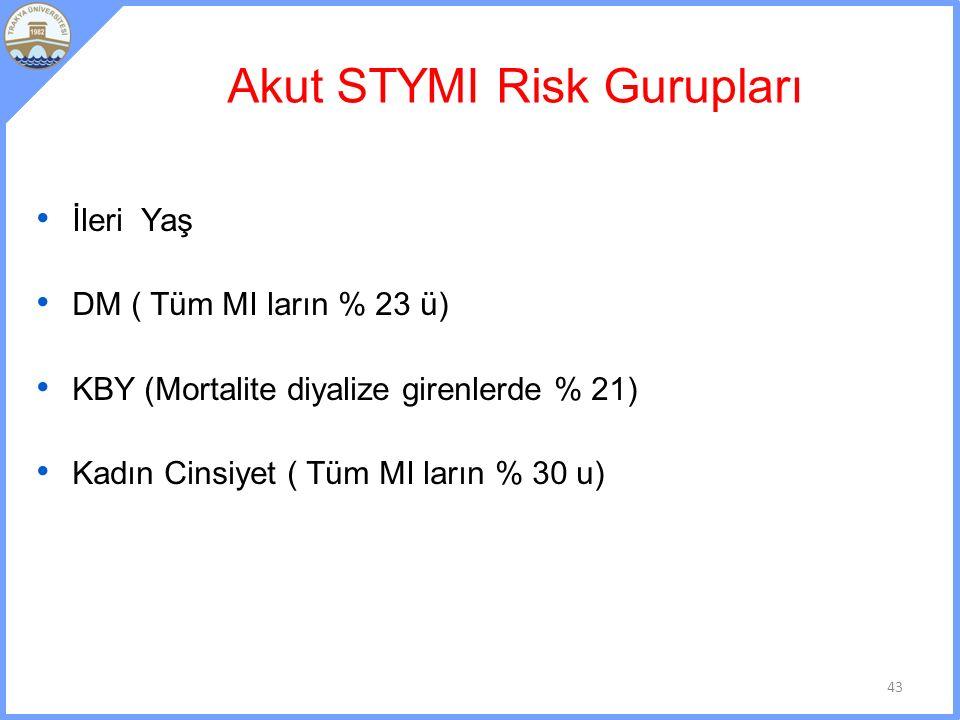 Akut STYMI Risk Gurupları İleri Yaş DM ( Tüm MI ların % 23 ü) KBY (Mortalite diyalize girenlerde % 21) Kadın Cinsiyet ( Tüm MI ların % 30 u) 43