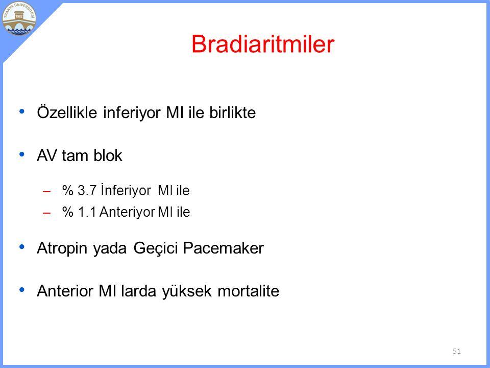 Bradiaritmiler Özellikle inferiyor MI ile birlikte AV tam blok – % 3.7 İnferiyor MI ile – % 1.1 Anteriyor MI ile Atropin yada Geçici Pacemaker Anterior MI larda yüksek mortalite 51