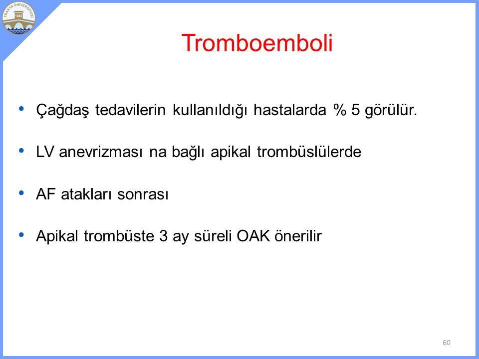 Tromboemboli Çağdaş tedavilerin kullanıldığı hastalarda % 5 görülür.