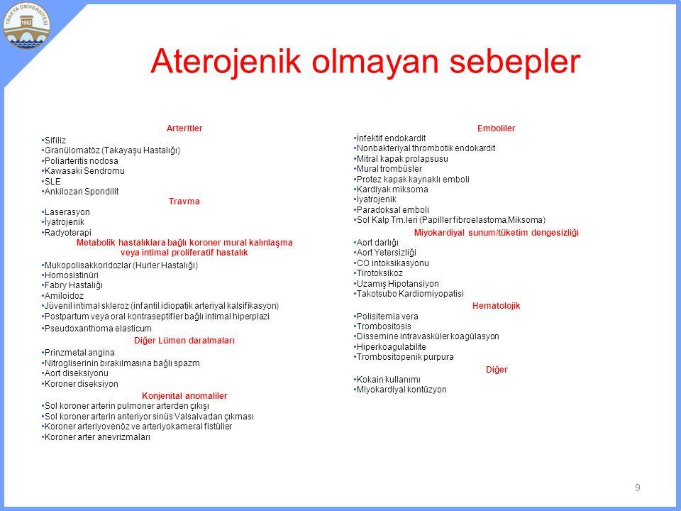 Aterojenik olmayan sebepler Arteritler Sifiliz Granülomatöz (Takayaşu Hastalığı) Poliarteritis nodosa Kawasaki Sendromu SLE Ankilozan Spondilit Travma Laserasyon İyatrojenik Radyoterapi Metabolik hastalıklara bağlı koroner mural kalınlaşma veya intimal proliferatif hastalık Mukopolisakkoridozlar (Hurler Hastalığı) Homosistinüri Fabry Hastalığı Amiloidoz Jüvenil intimal skleroz (infantil idiopatik arteriyal kalsifikasyon) Postpartum veya oral kontraseptifler bağlı intimal hiperplazi Pseudoxanthoma elasticum Diğer Lümen daralmaları Prinzmetal angina Nitrogliserinin bırakılmasına bağlı spazm Aort diseksiyonu Koroner diseksiyon Konjenital anomaliler Sol koroner arterin pulmoner arterden çıkışı Sol koroner arterin anteriyor sinüs Valsalvadan çıkması Koroner arteriyovenöz ve arteriyokameral fistüller Koroner arter anevrizmaları Emboliler İnfektif endokardit Nonbakteriyal thrombotik endokardit Mitral kapak prolapsusu Mural trombüsler Protez kapak kaynaklı emboli Kardiyak miksoma İyatrojenik Paradoksal emboli Sol Kalp Tm.leri (Papiller fibroelastoma,Miksoma) Miyokardiyal sunum/tüketim dengesizliği Aort darlığı Aort Yetersizliği CO intoksikasyonu Tirotoksikoz Uzamış Hipotansiyon Takotsubo Kardiomiyopatisi Hematolojik Polisitemia vera Trombositosis Dissemine intravasküler koagülasyon Hiperkoagulabilite Trombositopenik purpura Diğer Kokain kullanımı Miyokardiyal kontüzyon 9