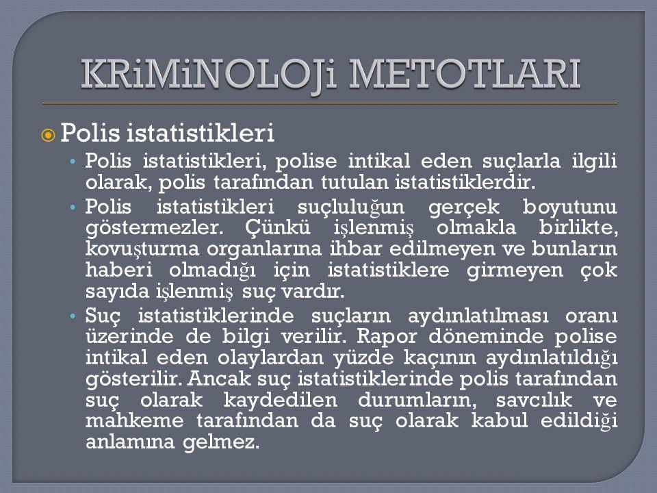  Polis istatistikleri Polis istatistikleri, polise intikal eden suçlarla ilgili olarak, polis tarafından tutulan istatistiklerdir. Polis istatistikle