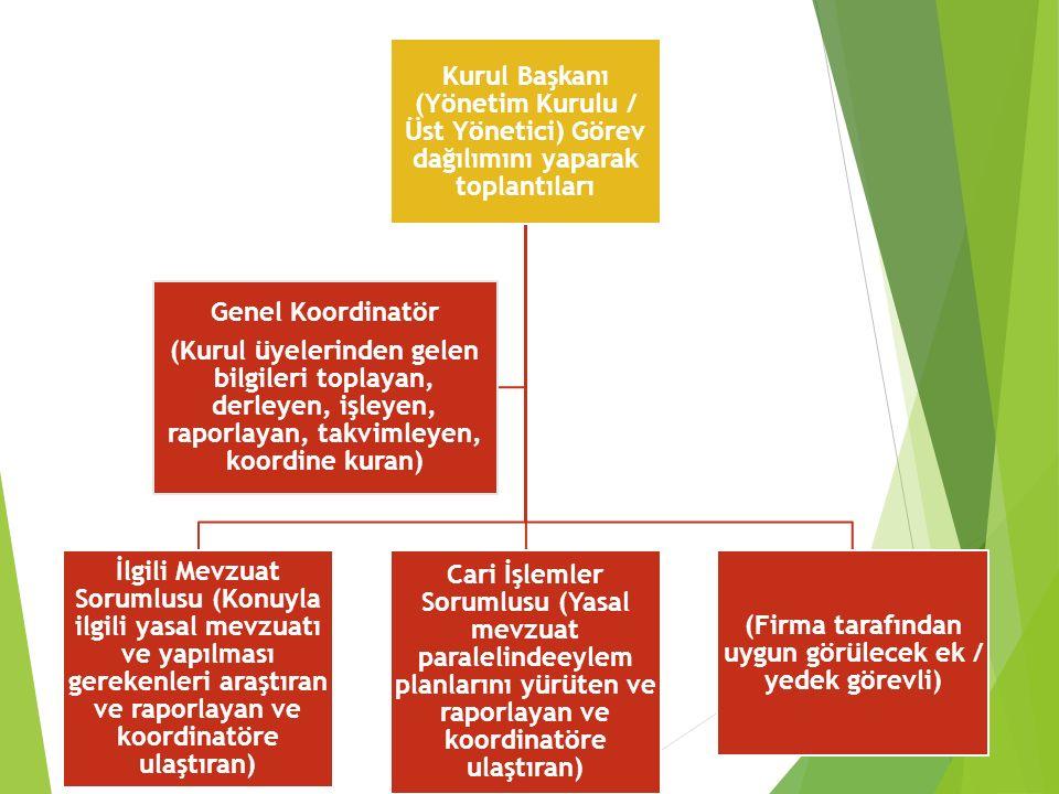 Kurul Başkanı (Yönetim Kurulu / Üst Yönetici) Görev dağılımını yaparak toplantıları İlgili Mevzuat Sorumlusu (Konuyla ilgili yasal mevzuatı ve yapılması gerekenleri araştıran ve raporlayan ve koordinatöre ulaştıran) Cari İşlemler Sorumlusu (Yasal mevzuat paralelindeeylem planlarını yürüten ve raporlayan ve koordinatöre ulaştıran) (Firma tarafından uygun görülecek ek / yedek görevli) Genel Koordinatör (Kurul üyelerinden gelen bilgileri toplayan, derleyen, işleyen, raporlayan, takvimleyen, koordine kuran)