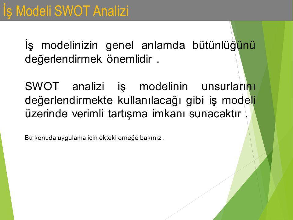 İş Modeli SWOT Analizi İş modelinizin genel anlamda bütünlüğünü değerlendirmek önemlidir. SWOT analizi iş modelinin unsurlarını değerlendirmekte kulla