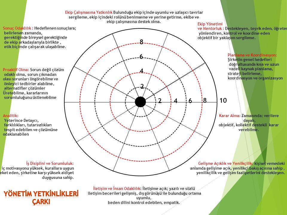 2 4 6 8 246 8 10 Ekip Yönetimi ve Mentorluk : Destekleyen, teşvik eden, öğreten, yönlendiren, kontrol ve koordine eden objektif bir yaklaşım sergileme.