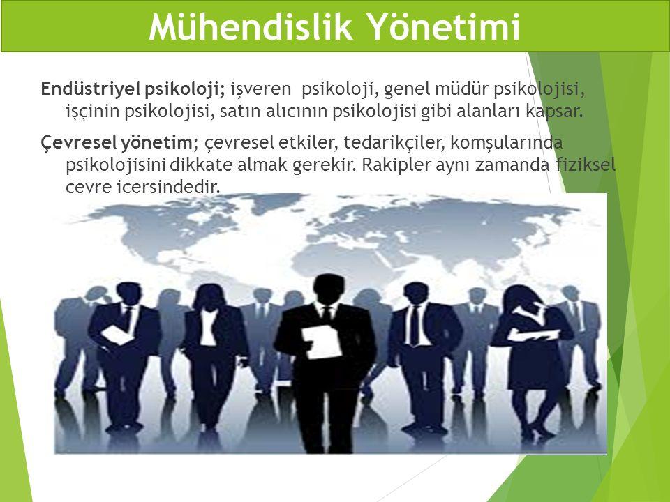 Endüstriyel psikoloji; işveren psikoloji, genel müdür psikolojisi, işçinin psikolojisi, satın alıcının psikolojisi gibi alanları kapsar. Çevresel yöne