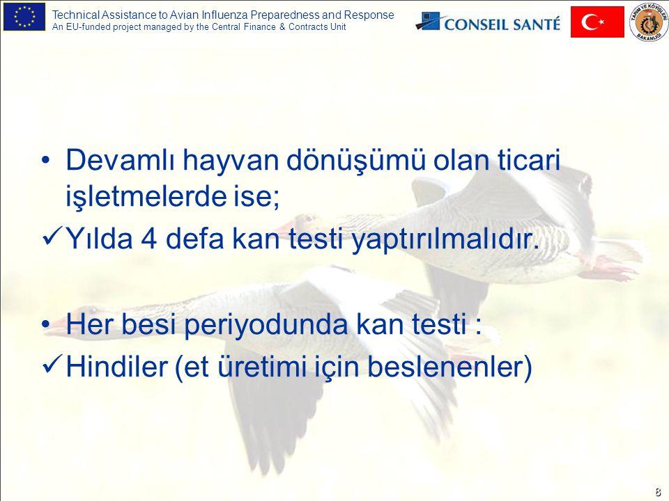 Technical Assistance to Avian Influenza Preparedness and Response An EU-funded project managed by the Central Finance & Contracts Unit 9 Resmi Kontrollerde Numuneler -Bakanlıkça uygulanacak izleme programlarında ve rutin kontrollerde nerede ve ne zaman numune alınacağına İl/İlçe Tarım Müdürlüğündeki resmi veteriner hekim karar verir.