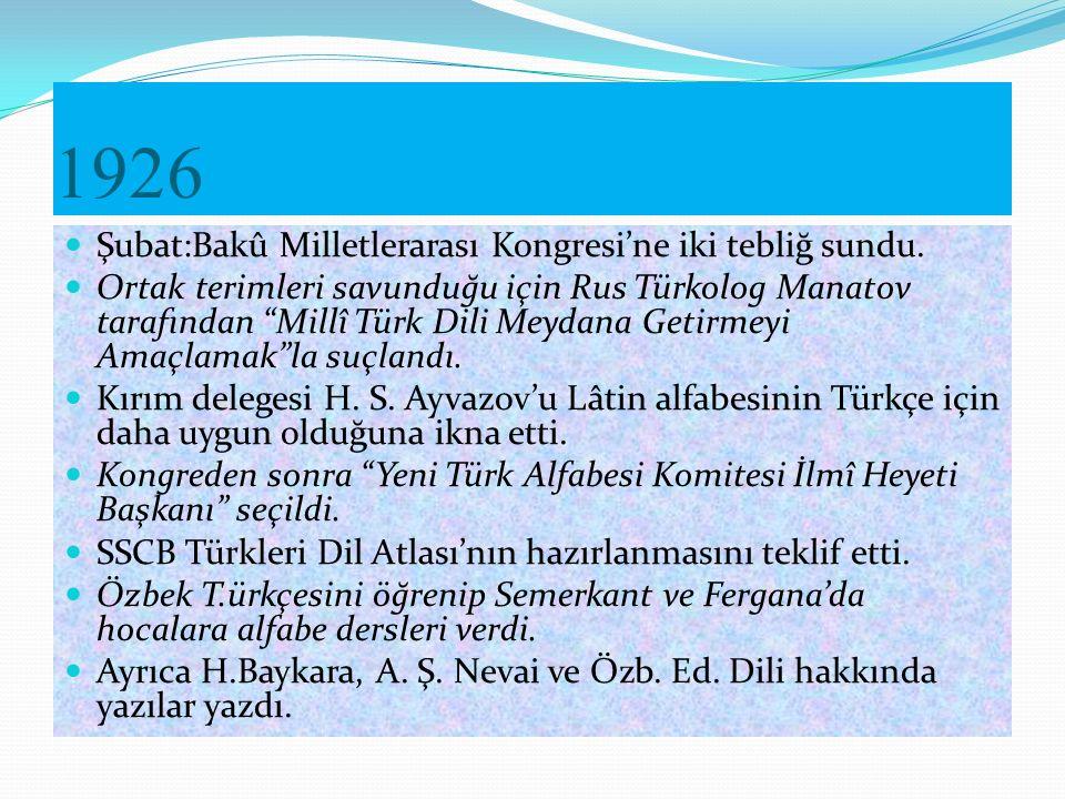 1925-1929 İş Arkadaşları Yetiştirdikleri Azerb.
