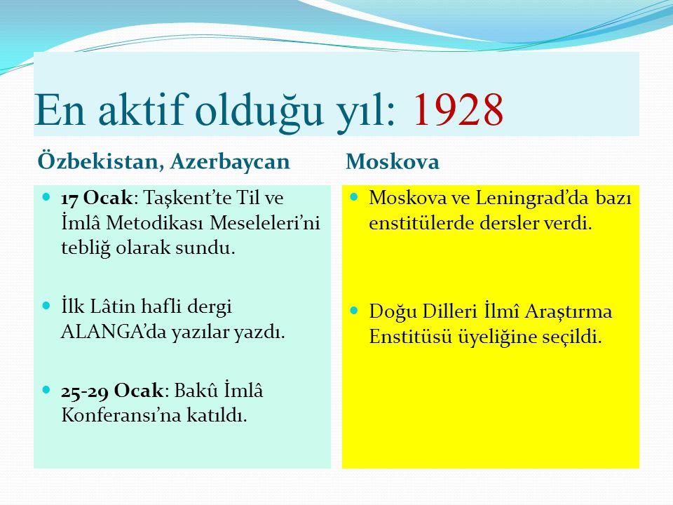 1927 3-6 Haziran: I. Bakû Alfabe Kurultayı'na ortak edebî dili savunan bir bildiri sundu.