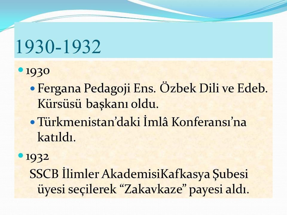 1929 Mayıs: Özbekistan'da konferansa katıldı. Ağustos: Kırım'da konferansa katıldı.