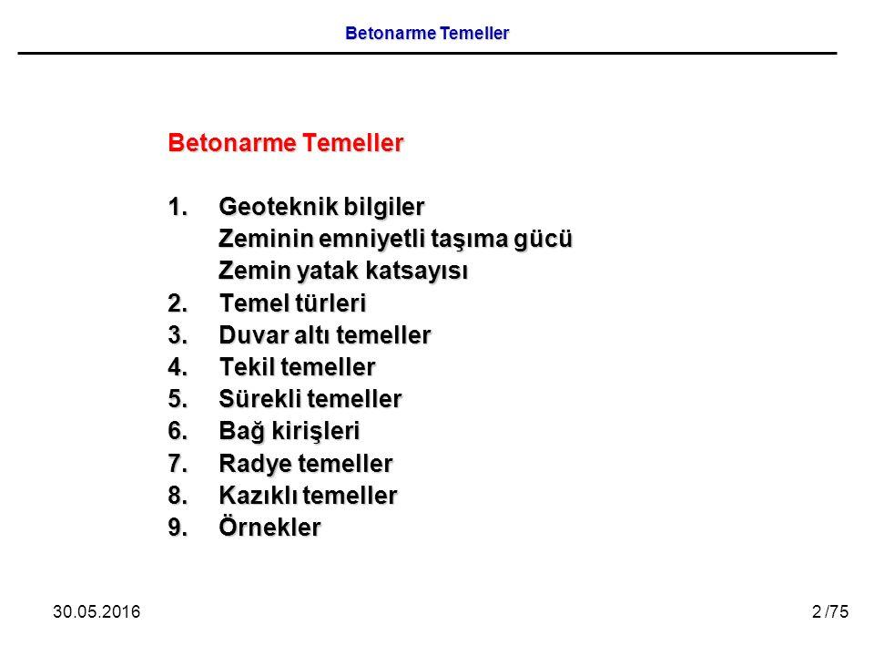 30.05.201663 /75 Betonarme Temeller