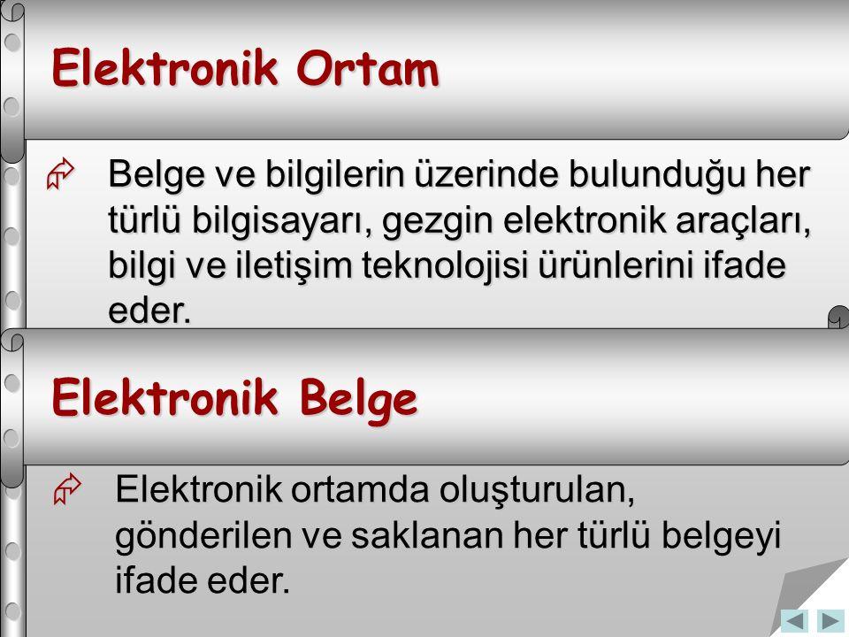 Elektronik Ortam  Belge ve bilgilerin üzerinde bulunduğu her türlü bilgisayarı, gezgin elektronik araçları, bilgi ve iletişim teknolojisi ürünlerini