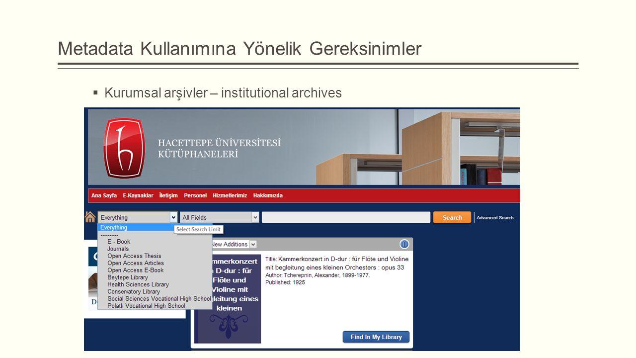 Metadata Kullanımına Yönelik Gereksinimler  Kurumsal arşivler – institutional archives