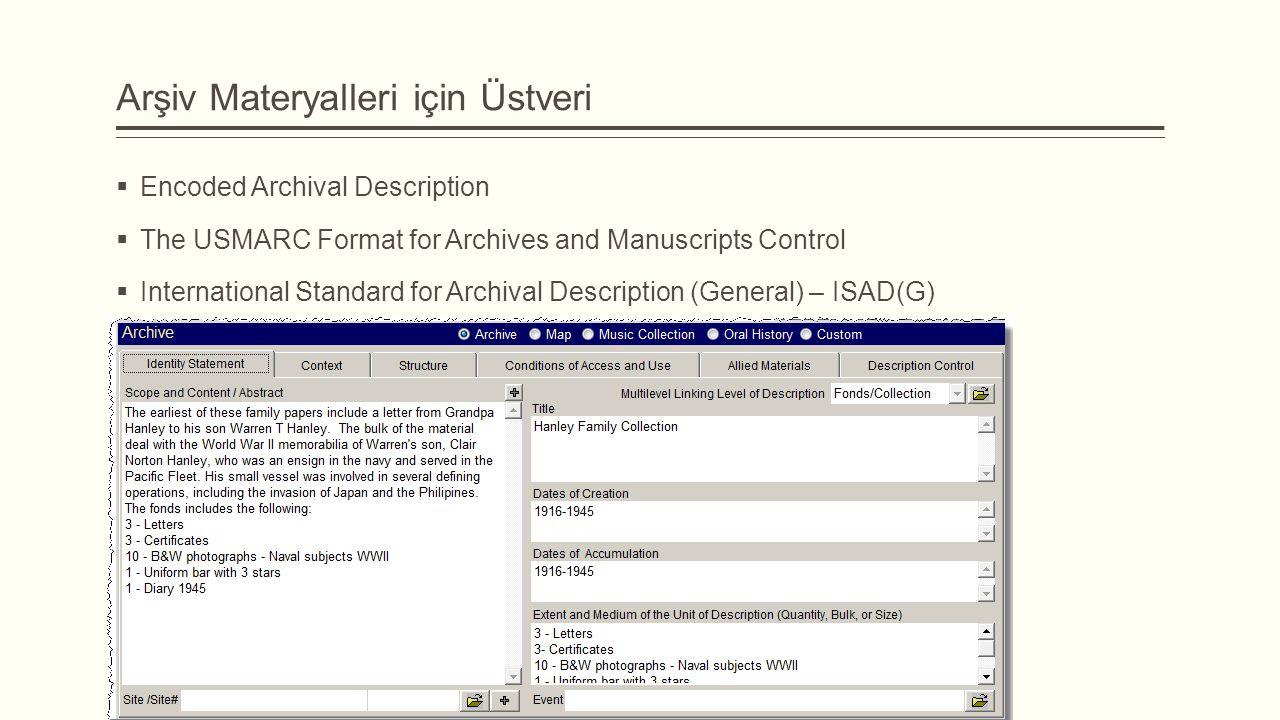 Arşiv Materyalleri için Üstveri  Encoded Archival Description  The USMARC Format for Archives and Manuscripts Control  International Standard for Archival Description (General) – ISAD(G)