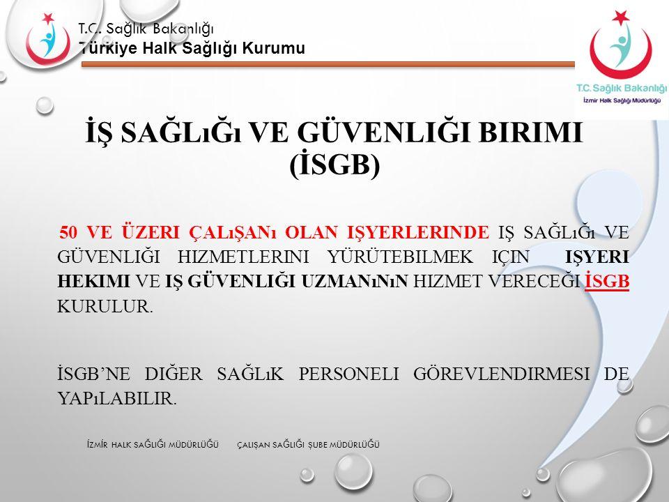 T.C. Sa ğ lık Bakanlı ğ ı Türkiye Halk Sağlığı Kurumu İŞ SAĞLıĞı VE GÜVENLIĞI BIRIMI (İSGB) 50 VE ÜZERI ÇALıŞANı OLAN IŞYERLERINDE IŞ SAĞLıĞı VE GÜVEN