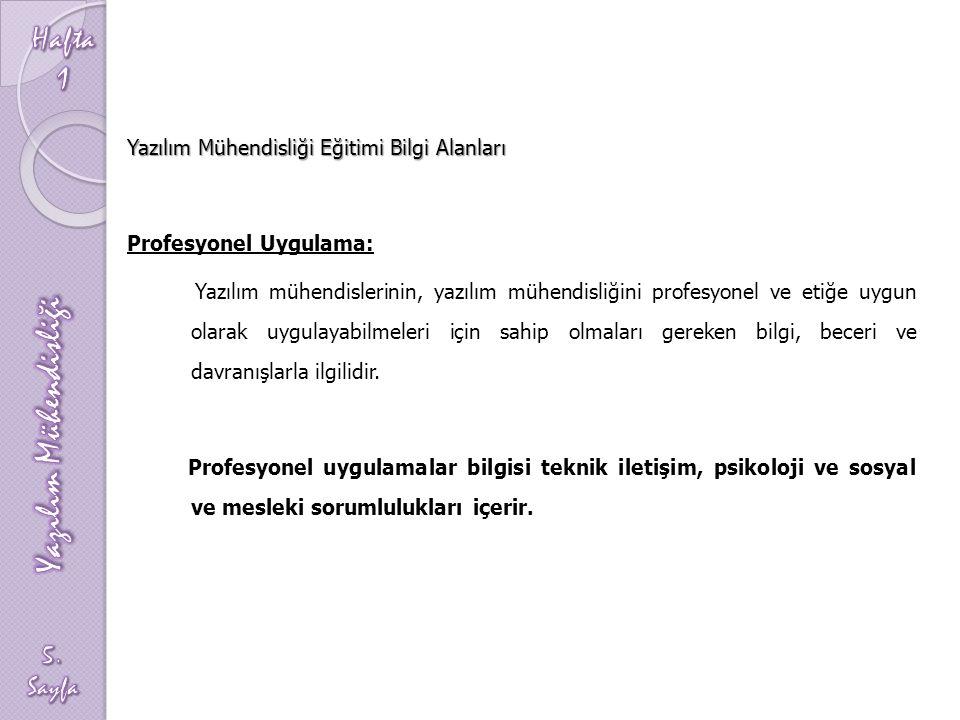 Yazılım Mühendisliği Eğitimi Bilgi Alanları Profesyonel Uygulama: Yazılım mühendislerinin, yazılım mühendisliğini profesyonel ve etiğe uygun olarak uy