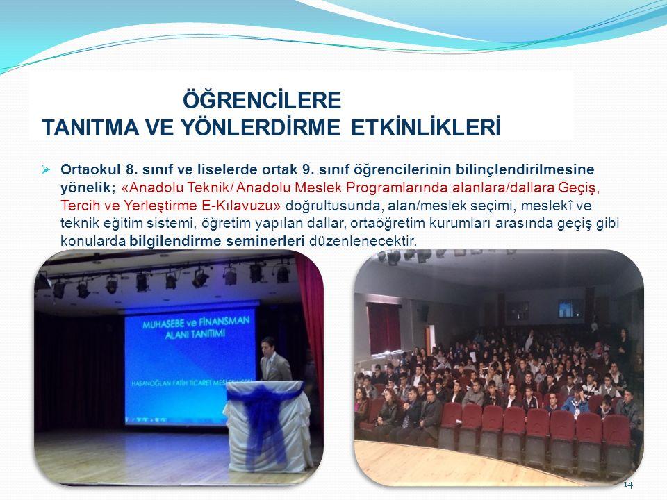 ÖĞRENCİLERE TANITMA VE YÖNLERDİRME ETKİNLİKLERİ  Ortaokul 8.