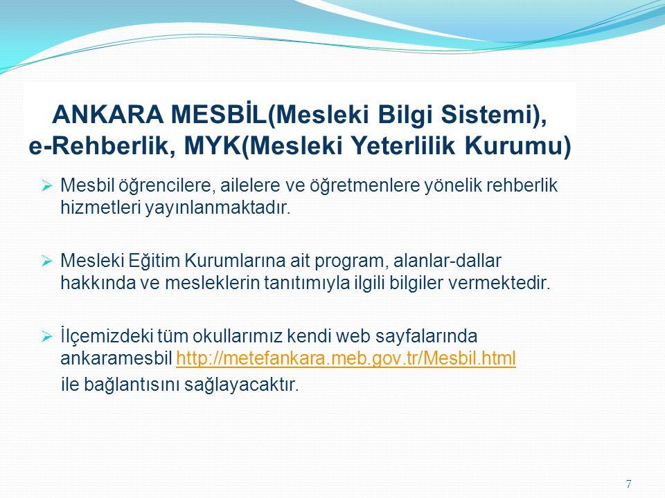 ANKARA MESBİL(Mesleki Bilgi Sistemi), e-Rehberlik, MYK(Mesleki Yeterlilik Kurumu)  Mesbil öğrencilere, ailelere ve öğretmenlere yönelik rehberlik hizmetleri yayınlanmaktadır.