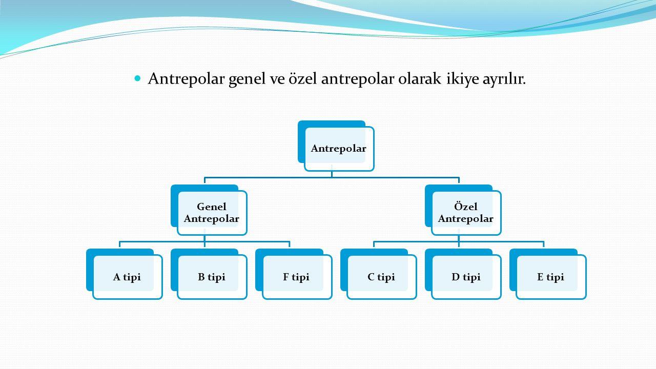 Antrepolar genel ve özel antrepolar olarak ikiye ayrılır. Antrepolar Genel Antrepolar A tipiB tipiF tipi Özel Antrepolar C tipiD tipiE tipi