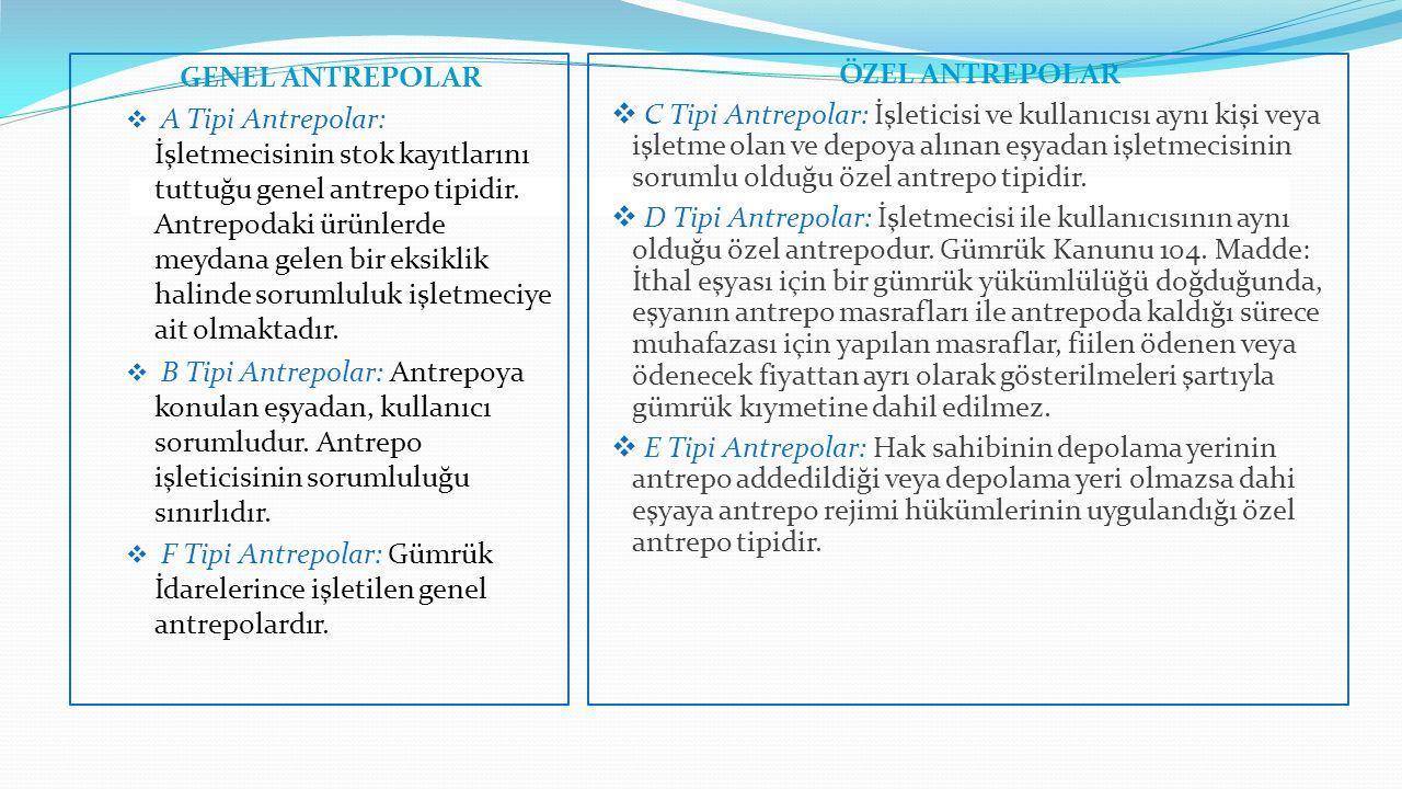 GENEL ANTREPOLAR  A Tipi Antrepolar: İşletmecisinin stok kayıtlarını tuttuğu genel antrepo tipidir. Antrepodaki ürünlerde meydana gelen bir eksiklik
