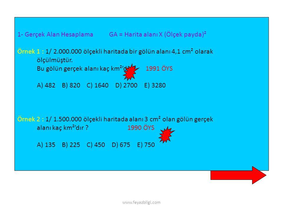 www.feyazbilgi.com ALAN HESAPLAMALARI km² hm² dam² m²m² dm² cm² mm² sıfır ekle sıfır sil Alan ölçüleri 100'er 100'er yani her katta 2 sıfır olarak değ