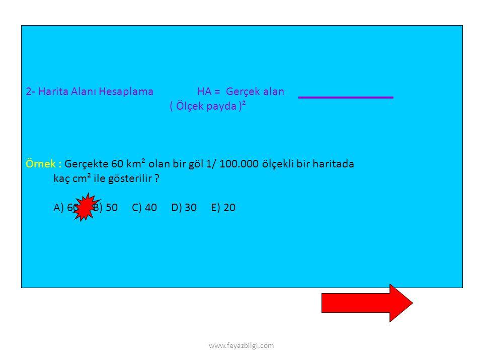 www.feyazbilgi.com 1- Gerçek Alan Hesaplama GA = Harita alanı X (Ölçek payda)² Örnek 1 : 1/ 2.000.000 ölçekli haritada bir gölün alanı 4,1 cm² olarak