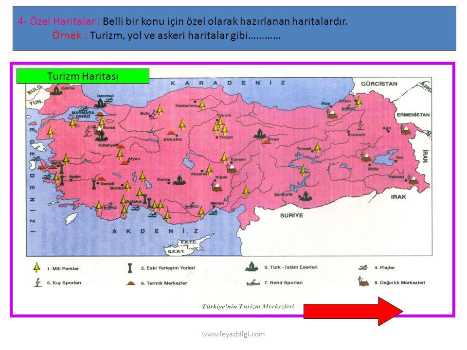 www.feyazbilgi.com 4- Ekonomik Haritalar : Nüfusun dağılışı, yoğunluğu, ekonomik faaliyetlerin çeşidi, dağılışı ve yoğunluğunu gösteren haritalardır.