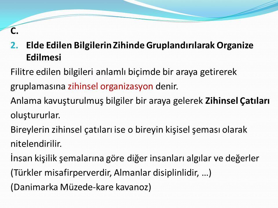 C. 2. Elde Edilen Bilgilerin Zihinde Gruplandırılarak Organize Edilmesi Filitre edilen bilgileri anlamlı biçimde bir araya getirerek gruplamasına zihi