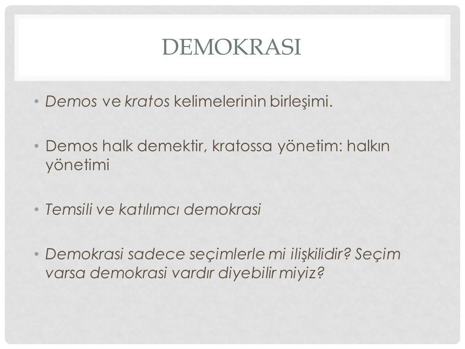 DEMOKRASI Demos ve kratos kelimelerinin birleşimi. Demos halk demektir, kratossa yönetim: halkın yönetimi Temsili ve katılımcı demokrasi Demokrasi sad