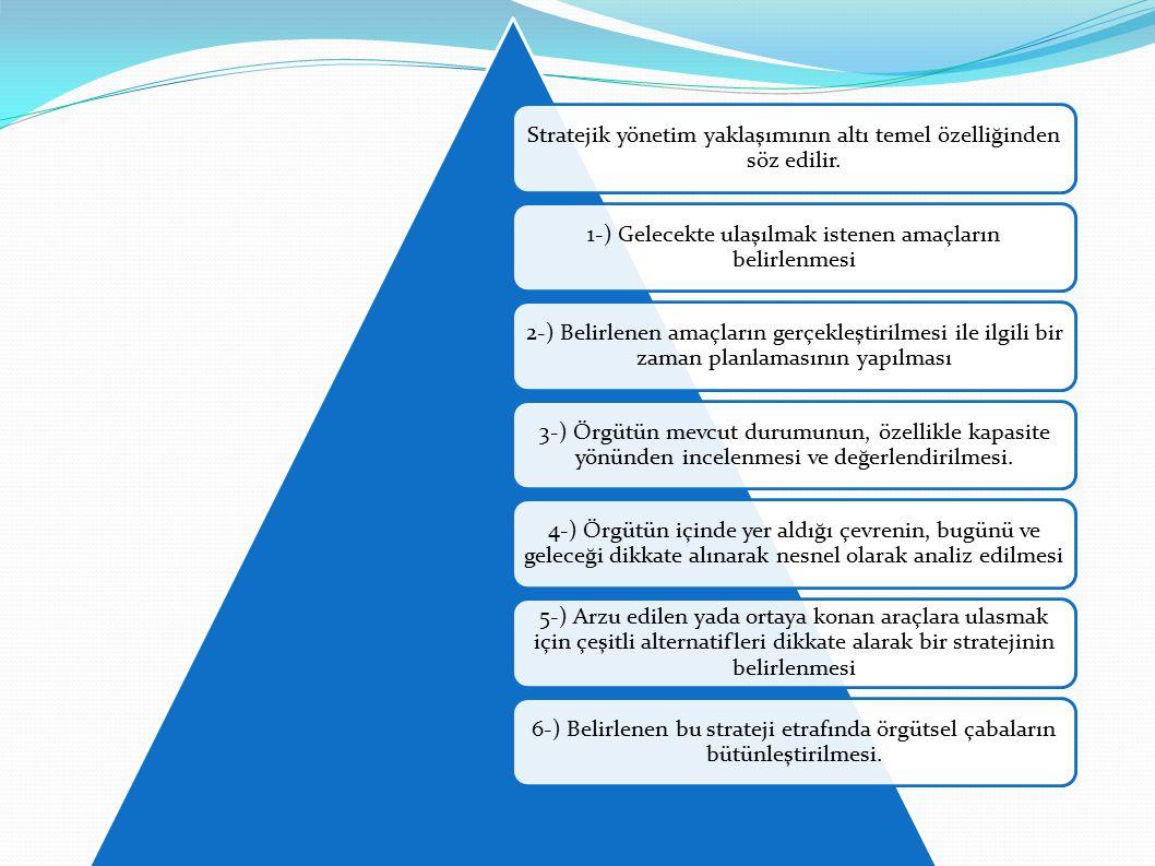 Stratejik yönetim yaklaşımının altı temel özelliğinden söz edilir.