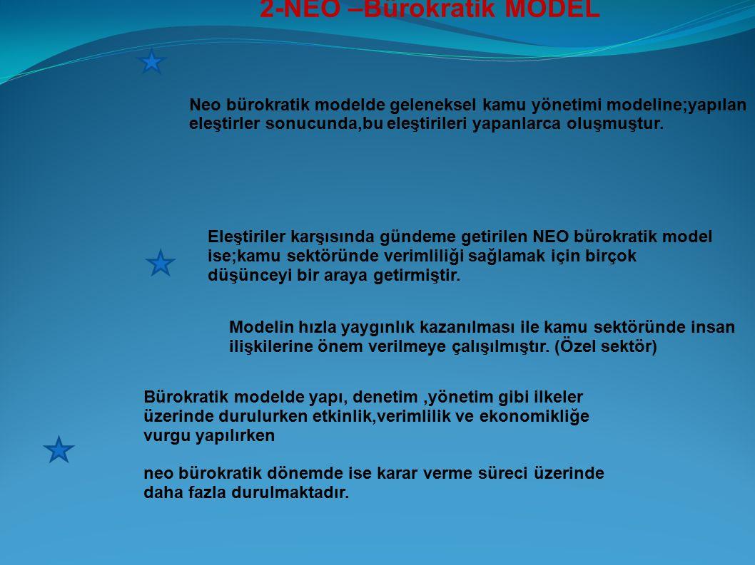 2-NEO –Bürokratik MODEL Neo bürokratik modelde geleneksel kamu yönetimi modeline;yapılan eleştirler sonucunda,bu eleştirileri yapanlarca oluşmuştur. E