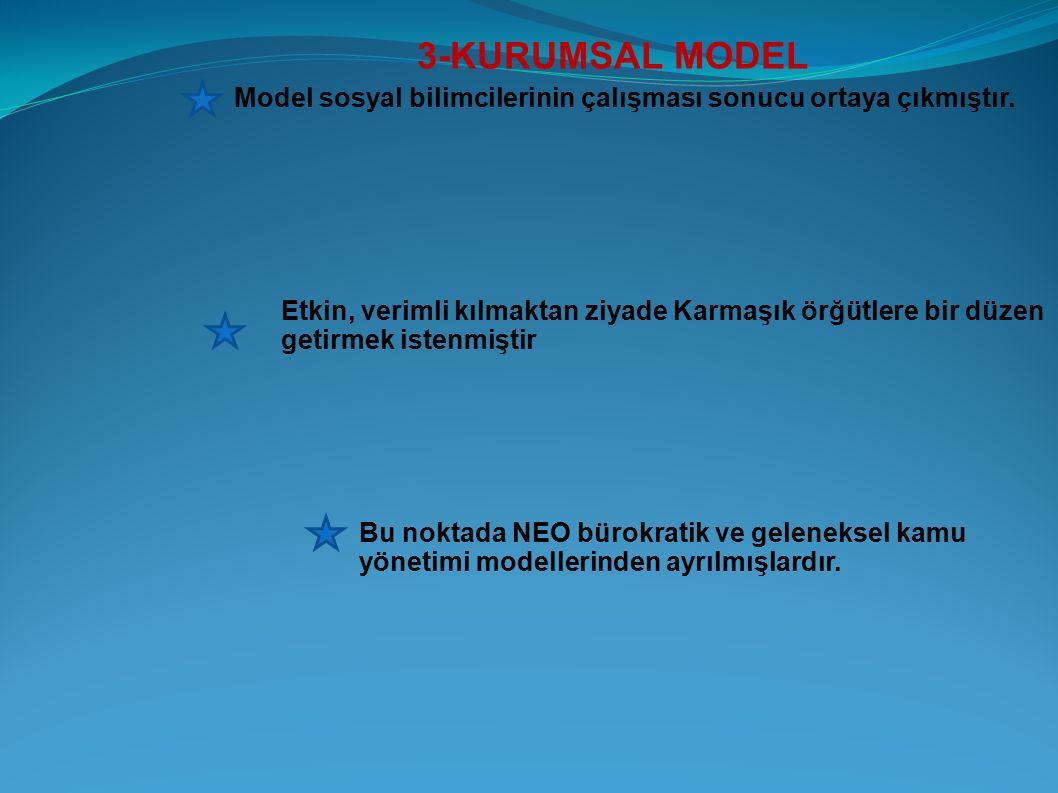 3-KURUMSAL MODEL Model sosyal bilimcilerinin çalışması sonucu ortaya çıkmıştır. Etkin, verimli kılmaktan ziyade Karmaşık örğütlere bir düzen getirmek