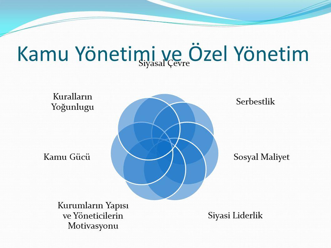 Kamu Yönetimi ve Özel Yönetim Siyasal Çevre Serbestlik Sosyal Maliyet Siyasi Liderlik Kurumların Yapısı ve Yöneticilerin Motivasyonu Kamu Gücü Kuralların Yoğunlugu