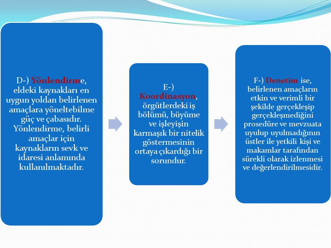 D-) Yönlendirme, eldeki kaynakları en uygun yoldan belirlenen amaçlara yöneltebilme güç ve çabasıdır. Yönlendirme, belirli amaçlar için kaynakların se
