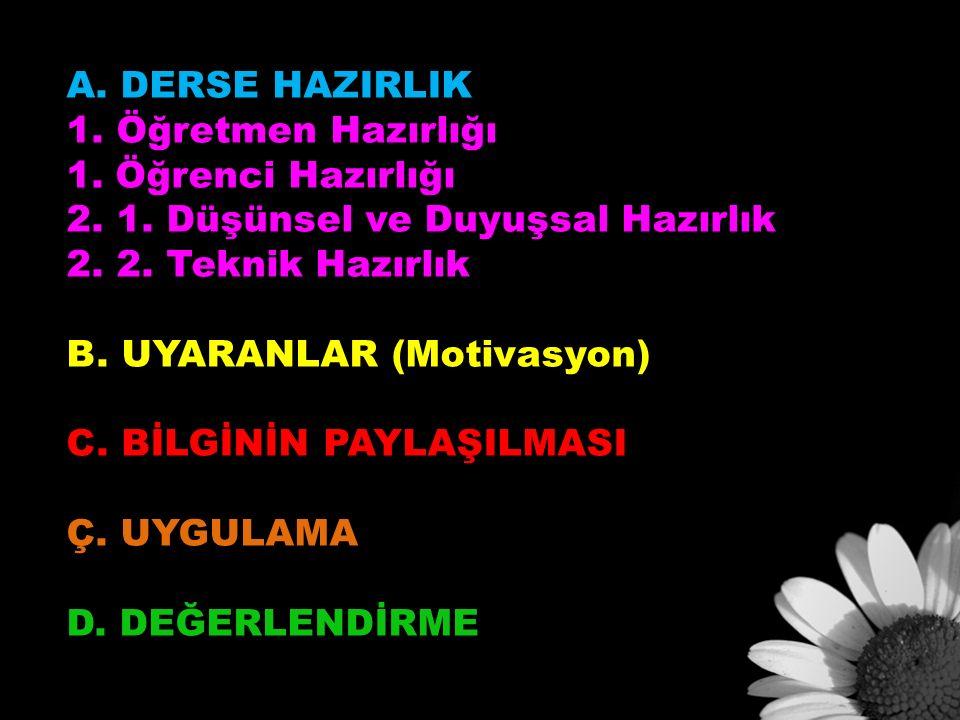 A. DERSE HAZIRLIK 1. Öğretmen Hazırlığı 1. Öğrenci Hazırlığı 2.