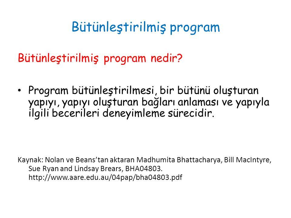 Bütünleştirilmiş program Bütünleştirilmiş program nedir.