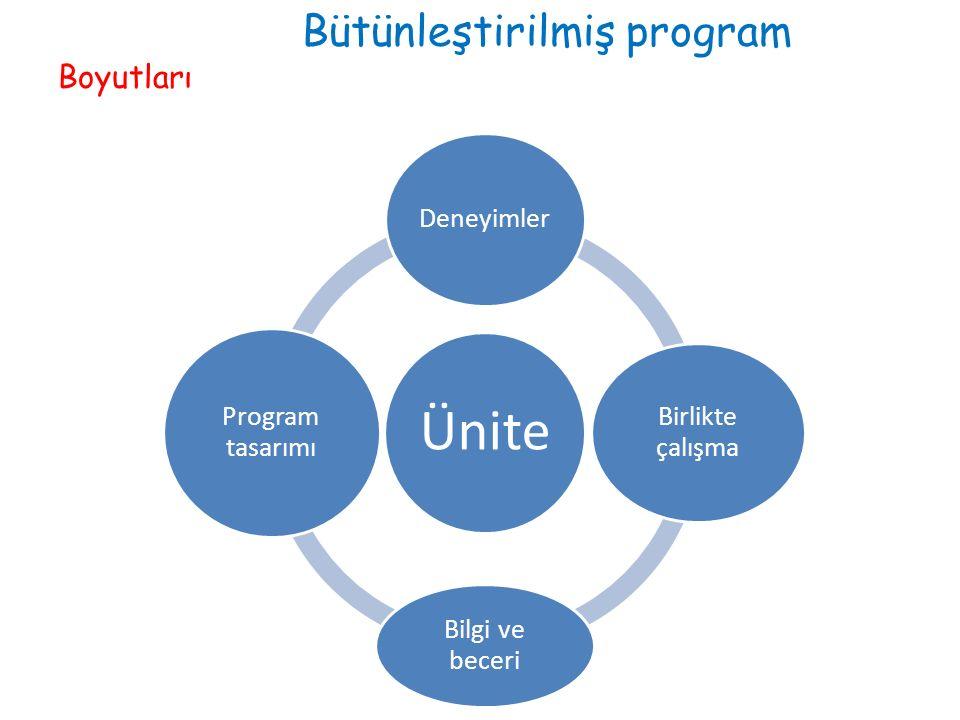 Bütünleştirilmiş program Boyutları Ünite Deneyimler Birlikte çalışma Bilgi ve beceri Program tasarımı