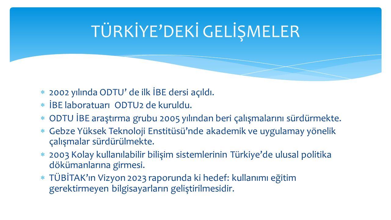 2002 yılında ODTU' de ilk İBE dersi açıldı.  İBE laboratuarı ODTU2 de kuruldu.