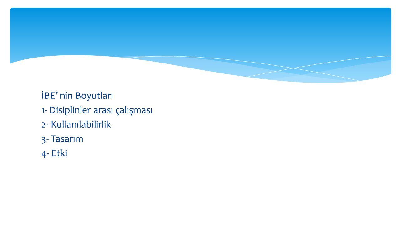 İBE' nin Boyutları 1- Disiplinler arası çalışması 2- Kullanılabilirlik 3- Tasarım 4- Etki