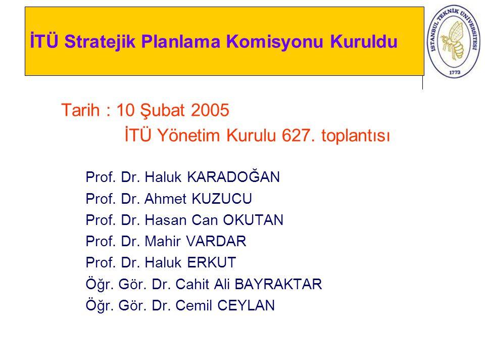 İTÜ Stratejik Planlama Komisyonu Kuruldu Tarih : 10 Şubat 2005 İTÜ Yönetim Kurulu 627. toplantısı Prof. Dr. Haluk KARADOĞAN Prof. Dr. Ahmet KUZUCU Pro