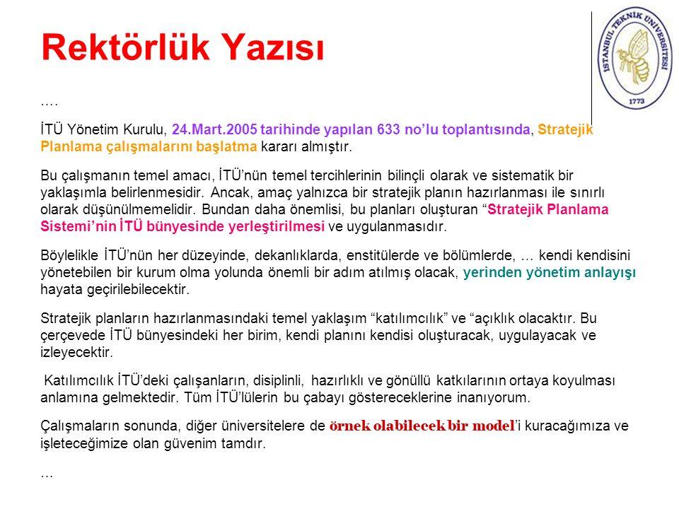 Rektörlük Yazısı ….