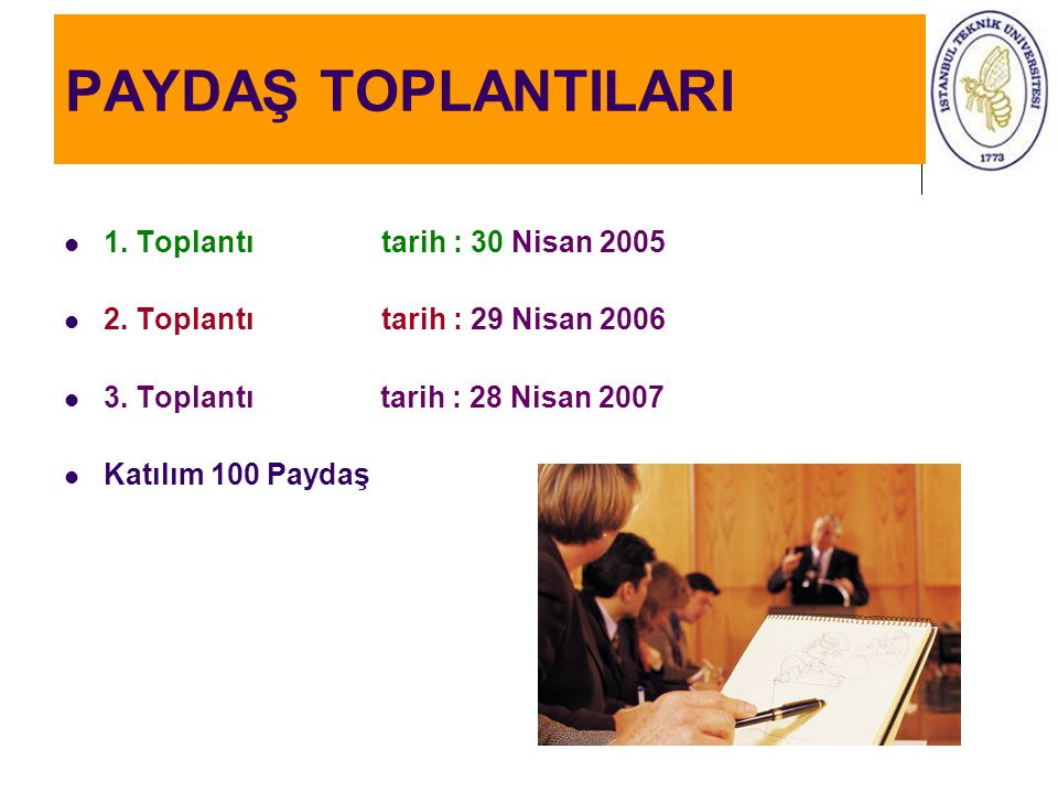 PAYDAŞ TOPLANTILARI 1. Toplantı tarih : 30 Nisan 2005 2. Toplantıtarih : 29 Nisan 2006 3. Toplantı tarih : 28 Nisan 2007 Katılım 100 Paydaş