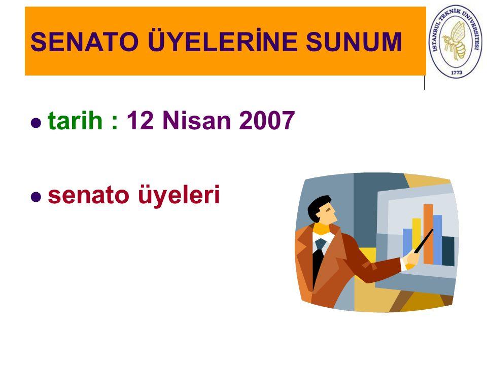 SENATO ÜYELERİNE SUNUM tarih : 12 Nisan 2007 senato üyeleri