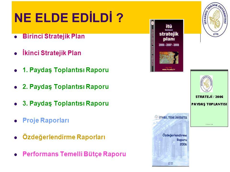 NE ELDE EDİLDİ ? Birinci Stratejik Plan İkinci Stratejik Plan 1. Paydaş Toplantısı Raporu 2. Paydaş Toplantısı Raporu 3. Paydaş Toplantısı Raporu Proj