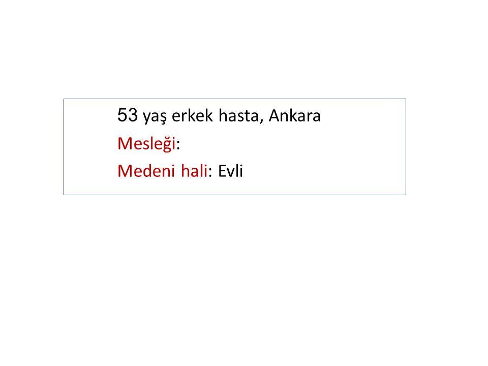53 yaş erkek hasta, Ankara Mesleği: Medeni hali: Evli