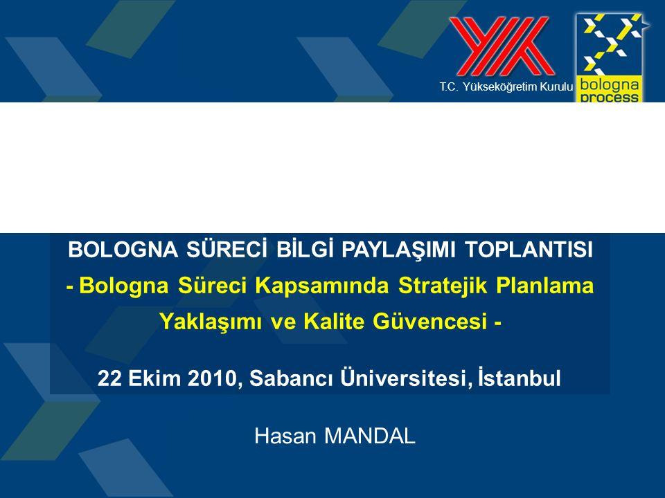 T.C. Yükseköğretim Kurulu Hasan MANDAL BOLOGNA SÜRECİ BİLGİ PAYLAŞIMI TOPLANTISI - Bologna Süreci Kapsamında Stratejik Planlama Yaklaşımı ve Kalite Gü