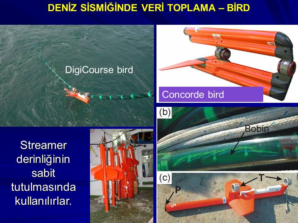 DENİZ SİSMİĞİNDE VERİ TOPLAMA – BİRD Streamer derinliğinin sabit tutulmasında kullanılırlar.