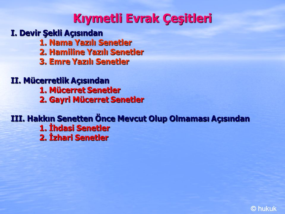 Kambiyo Senetleri III.
